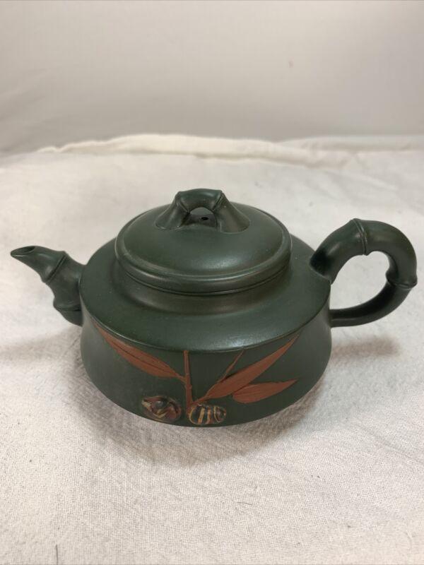 Vintage Mini Yixing Zisha Chinese Teapot, Green Clay w/Bamboo Design, VERY NICE