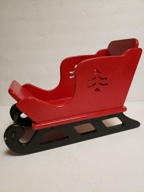 Vintage Handmade Wooden Sleigh Vintage Christmas Santa