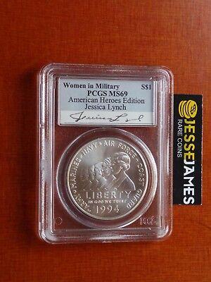 1994 W S 1 Silver Women In Military Commemorative Dollar Pcgs Ms69 Jessica Lynch
