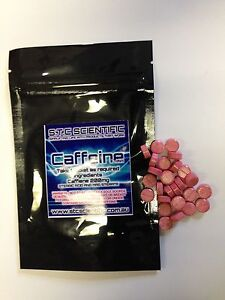Caffeine Tablets 200mgs-  3 packs x 120 TABLETS. 360 tabs Tab Colour Is Red!