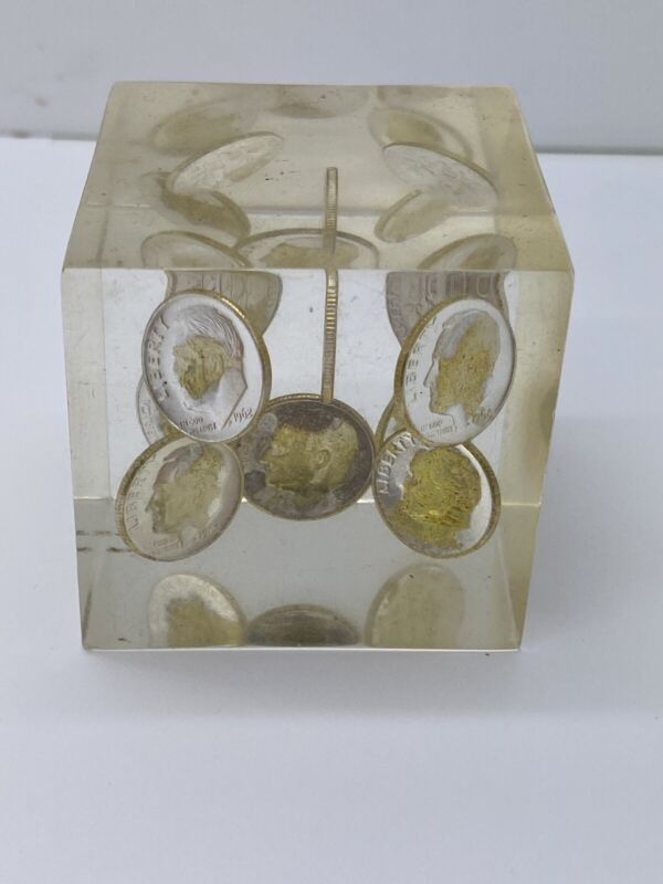 1964 Silver Roosevelt Dime Lucite Paperweight Square Cube Vintage Ten (10) Coins