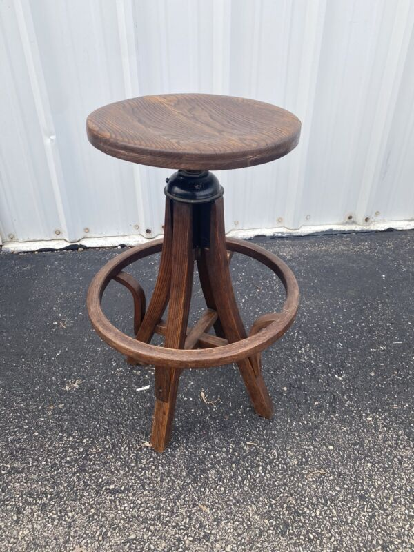 Vintage Industrial Chair Company Drafting Oak Wood Stool