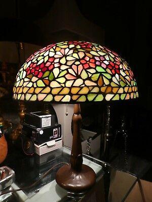 HANDEL LEADED GLASS FLORAL LAMP ACORN PULLS