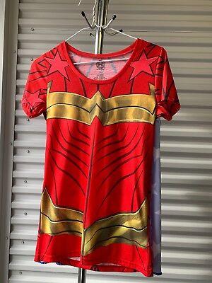 Wonder Woman Shirt with Cape Costume Running Juniors Medium Cosplay  (Superhero T Shirts With Cape)