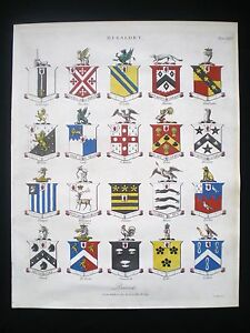 HERALDRY-HERALDIC-BLAZON-SHIELDS-BARONETS-COAT-OF-ARMS-HAND-COLOURED-PRINT-1809