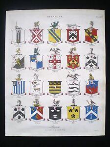 HERALDRY-HERALDIC-BLAZON-SHIELDS-BARONETS-COAT-OF-ARMS-HAND-COLOURED-PRINT-1809