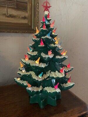 """vintage ceramic light up christmas tree 16"""" 3pcs Flocked Handmade"""