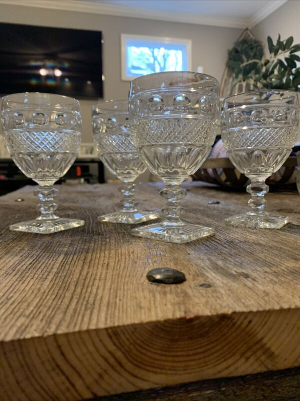 Imperial Glass Tradition Pattern Square Foot Water / Wine Clear Goblet Set Of 4