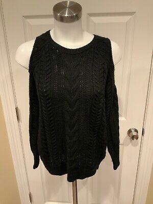 John + Jenn Navy Blue Cable Knit Crew Neck Cold Shoulder Sleeve Sweater, Size XS