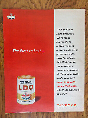 1962 Standard Oil Ad LDO  American Super Premium Long Distance Oil