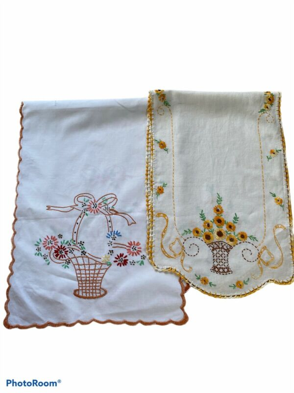 Embroidered Table Runners Lot Of 2 Vintage Hand Embroidered Linens