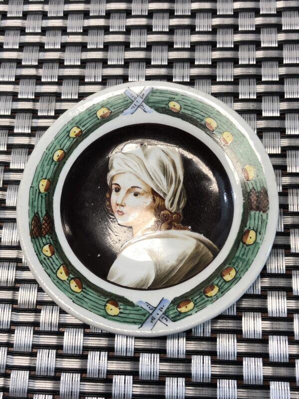Antique Vintage Hand Painted Portrait Butter Pat