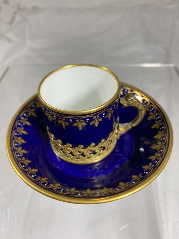 Antique Vienna Hand-Painted Demitasse Cup & Saucer Set Cobalt Blue & Gold Swan