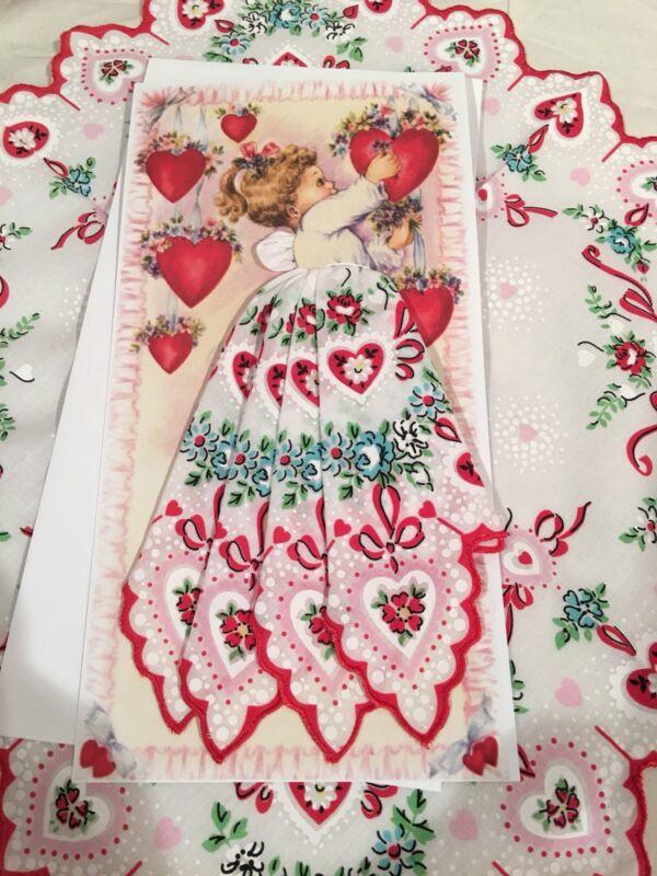 Delightful New Valentine Angel Handkerchief Card