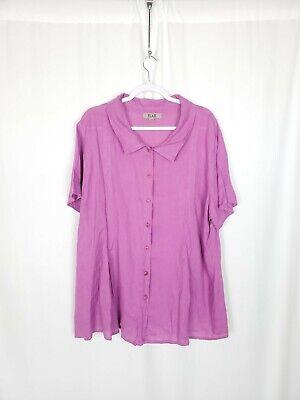 Flax Women's 100% Linen Purple Short Sleeve Button-Down Shirt Plus Size 2X /