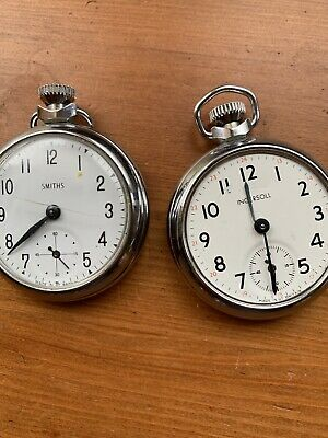 2X VINTAGE SMITHS & INGERSOLL POCKET WATCHES JOB LOT SPARES OR REPAIR ONLY