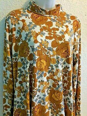AGNES & DORA MAXI DRESS XL Floral Moc Turtleneck GOLD BLUE All over Print L/S