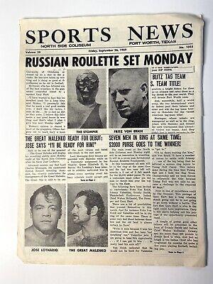 Texas sports news 1969 wrestling Paper Jose Lothario Stomper Von Erich Malenko