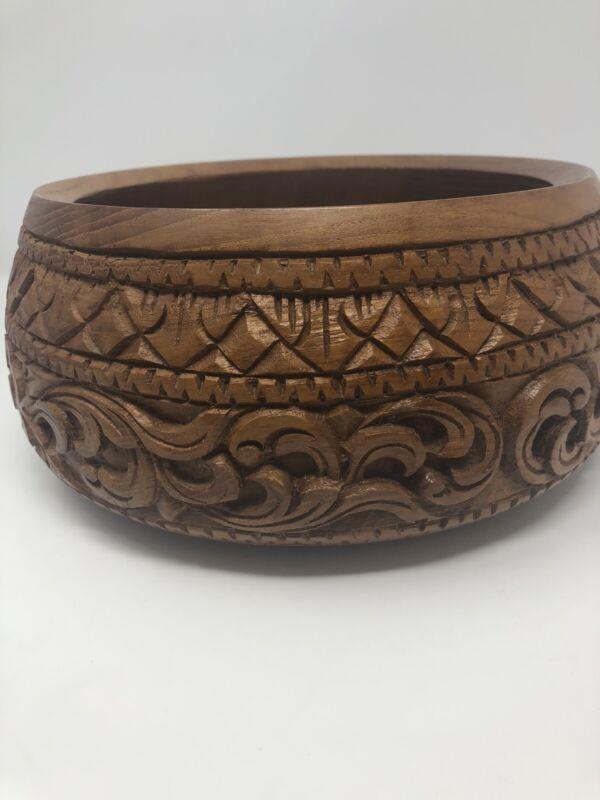 Vintage Carved Solid Wood Bowl Large Floral Boho Farmhouse Home Decor