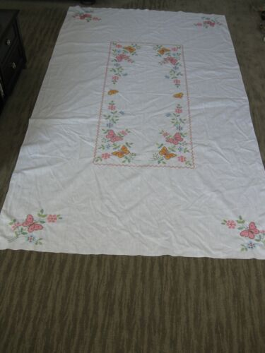 Vintage Embroidered Xstitch Tablecloth 59x100 Butterflies