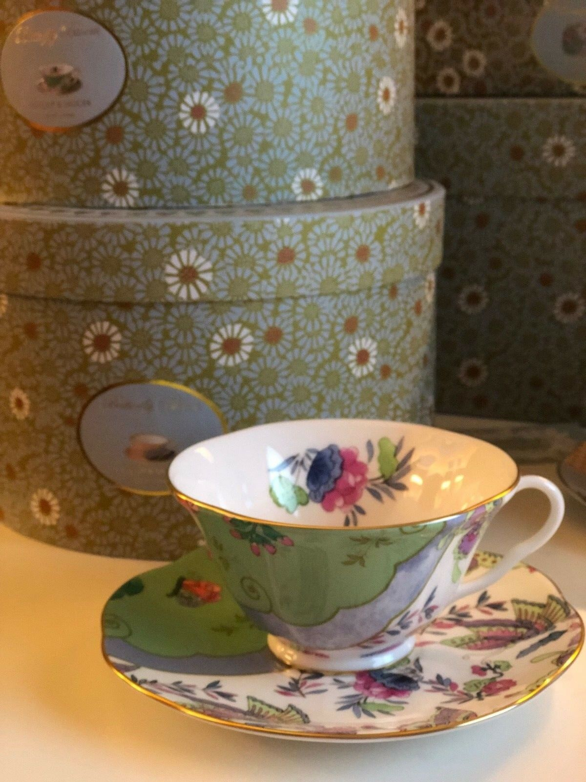 Wedgwood Butterfly Bloom Teetasse flach & Untertasse grün
