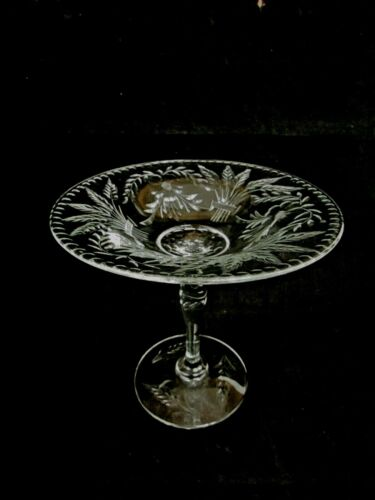 Antique Cut Glass Pedestal Tazza Centerpiece Pairpoint Sheaves of Wheat Design