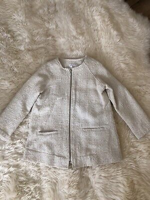 Zara Girls Ivory White Knit Tweed Trench Coat Light Jacket Size 8 for sale  Duncan
