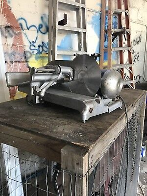 Vintage Industrial Commercial Hobart Hand Meat Slicer Working