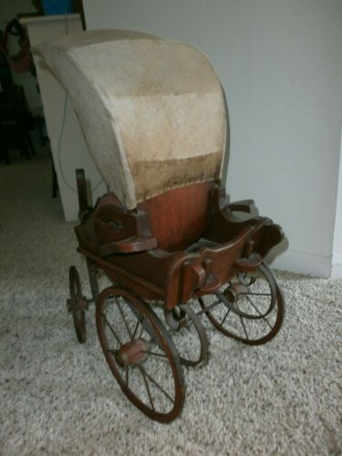 ANTIQUE BABY CARRIAGE STROLLER DOLL BUGGY WOOD IRON LEATHER.....
