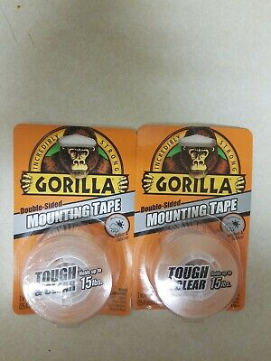 2 Gorilla Tough Clear Double Sided Mounting Tape 1 Inch X 60 Inches Clear