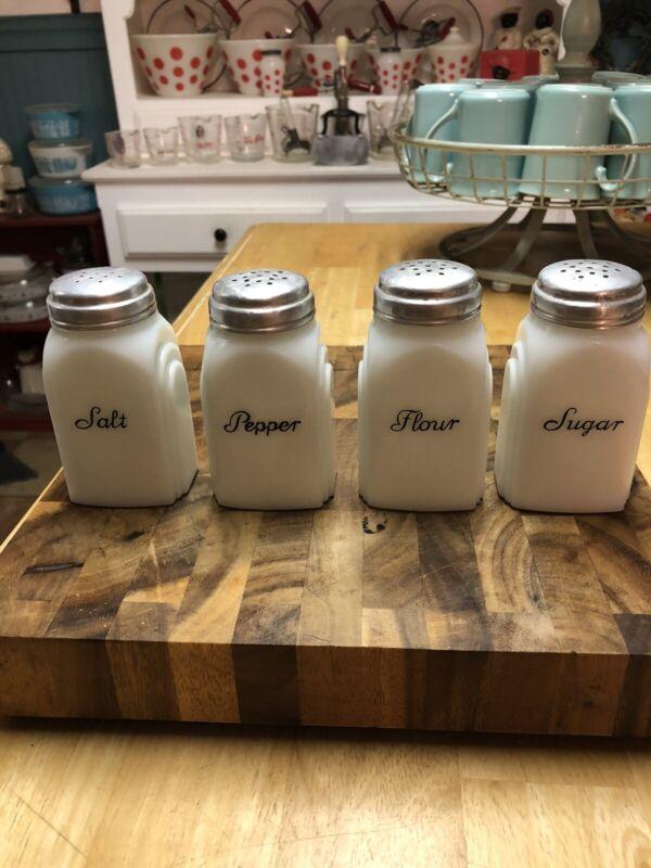 Vintage Art Deco Milk Glass Set  Salt Pepper Flour And Sugar Shakers Mckee Glass