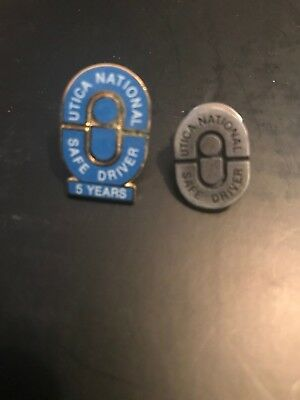 Lot Of 2 utica national safe driver pins 5 years