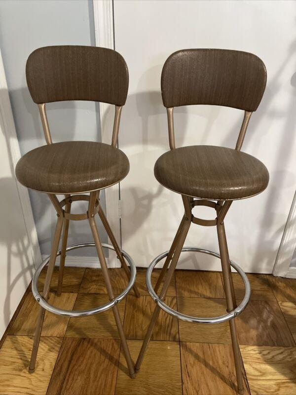 2 Vintage Mid Century Modern Brown Cosco Swivel Stools Chairs MCM Bar
