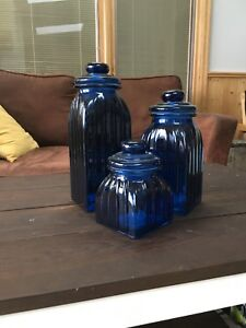 Blue glass kitchen storage containers