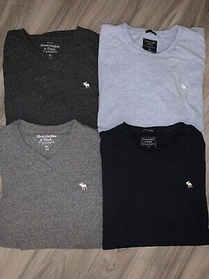 Abercrombie Mens Basic T-shirts Size XL Lot of 4 | 2 V-Neck 2 Crew