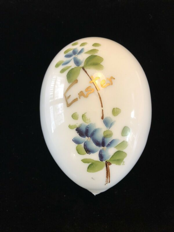 """Antique Victorian Large Milk Glass Easter Egg Hand Painted Flowers 6.5"""""""