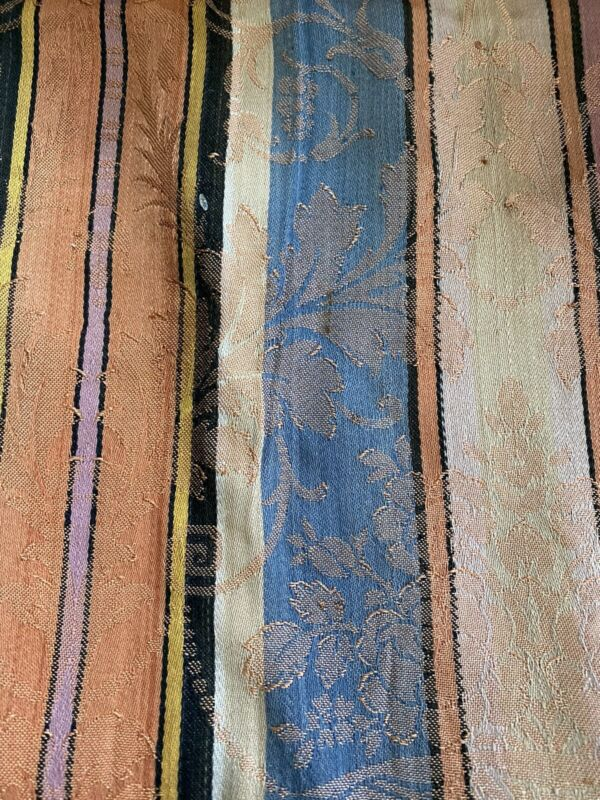 1900's Striped Damask Linen Drapery~curtain Panel