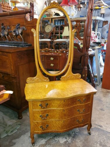 Antique Birds Eye Maple Vanity Dresser w/ Mirror - Beautiful