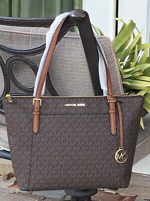 MICHAEL KORS CIARA LARGE ZIP TOTE SHOULDER BAG MK BROWN SIGNATURE $398