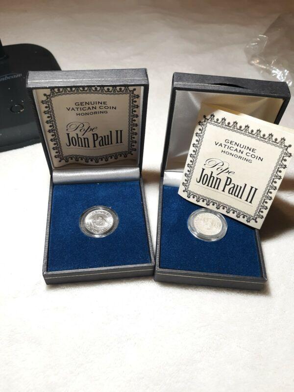 *** BOGO - Pope John Paul II 50 Lire Vatican Coin With COA (2 coins) ***