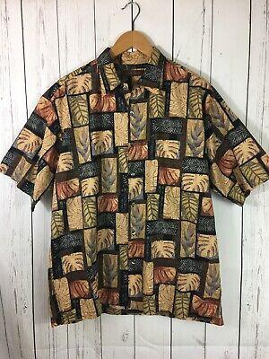 Tori Richard Hawaiian Aloha Shirt Size L Leaves Cotton Lawn Mother Pearl Button (Hawaiian Aloha Cotton Shirt)
