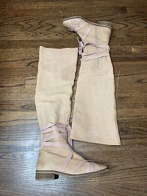 Free People Beige West End Over The Knee Leather Boots MRSP $398 Sz 38 / 8 US