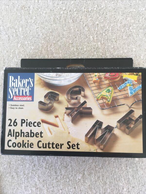 Vtg Bakers Secret 26 Piece Alphabet Cookie Cutter Set NIB