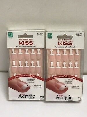 (2) Kiss Salon Acrylic French Nails Real Short Length DRY SPELL 62279 KSA04 Pink