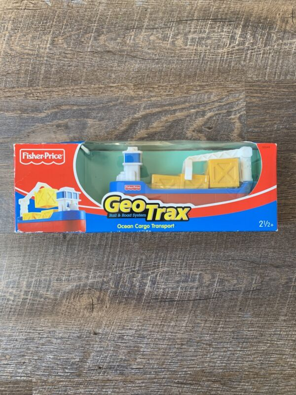 Fisher Price Geo Trax Ocean Cargo Transport Barge Boat Ship crane new in box