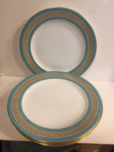 Royal Worcester Gilman Collamore Turquoise Gold Coraline Dinner Plates - 6