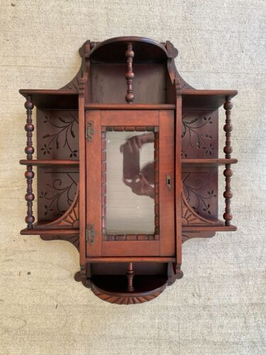 19th century Victorian Walnut Wall Display Shelf cabinet with Center Glass Door
