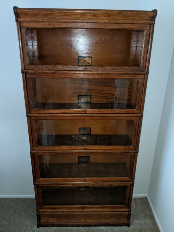 Globe Wernicke Antique Mission Oak 5 Stack Barrister Bookcase D198 in