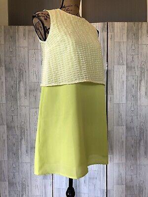 Jovonna London Yellow & White Layered Sleeveless Shift Dress Size8