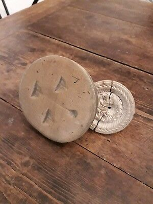 Two Nice Victorian Butter Stamps Primitive Treen